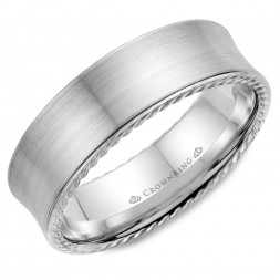 White Gold With Brushed Finish And Rope Detailed Wedding Band