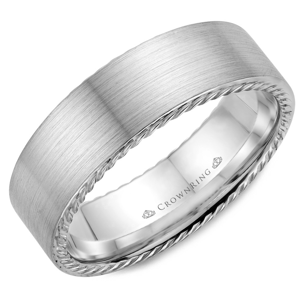 White Gold With A Brushed Finish And Rope Detailed Wedding Band