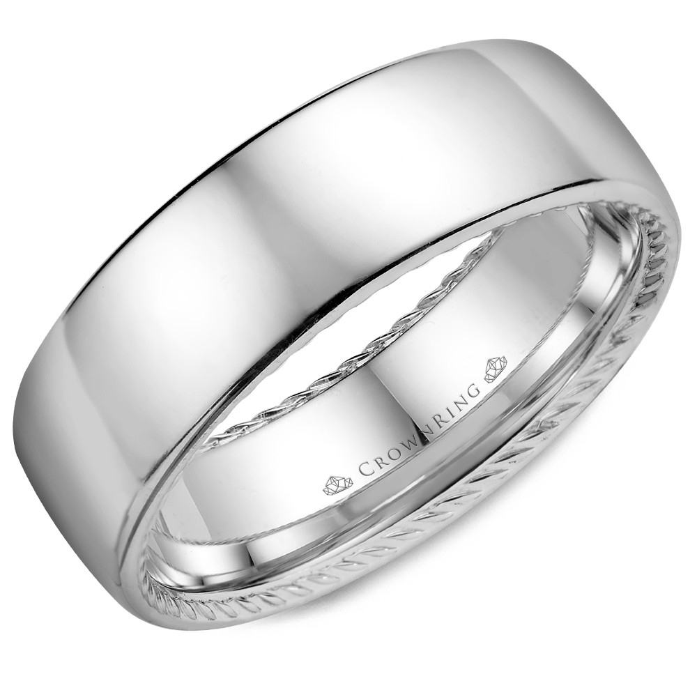 White Gold With A Polished Finish And Hidden Rope Detailing Wedding Band