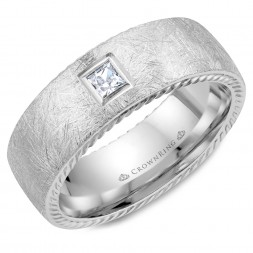 White Gold Wedding Band With A Square Cut Diamond, Rope Edges And Diamond Brushed Finish