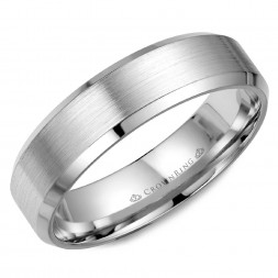 White Gold Wedding Band With A Brushed Center And Beveled Edges