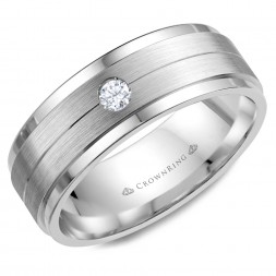 White Gold Wedding Band With Brushed Center And Round Diamond