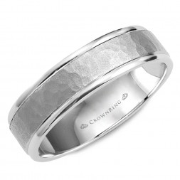 Hammered White Gold Wedding Band With Polished Edges