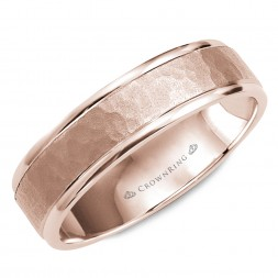 Hammered Rose Gold Wedding Band With Polished Edges