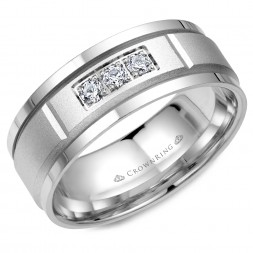 White Gold Wedding Band With Sandblast Center And Three Diamonds In Prong Setting