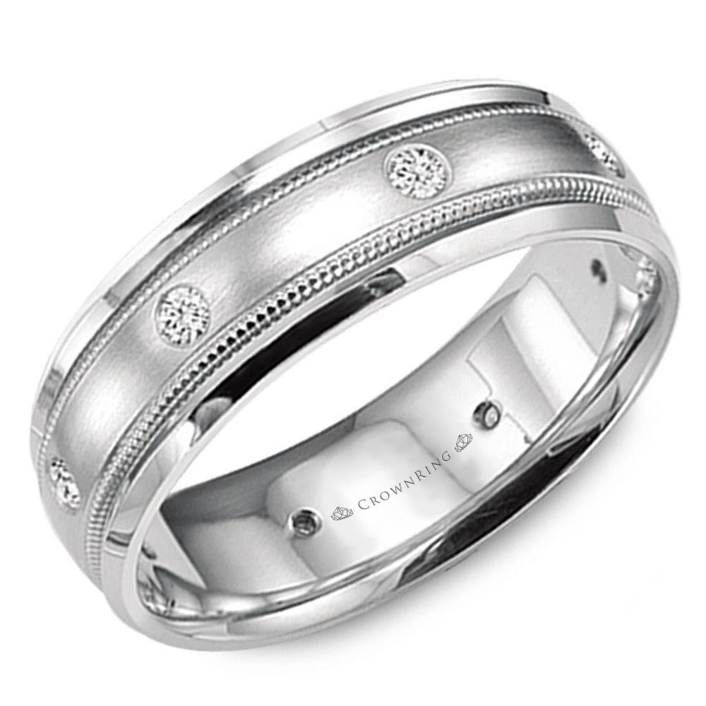 White Gold Wedding Band With Brushed Center, Milgrain Detailing And Six Round Diamonds