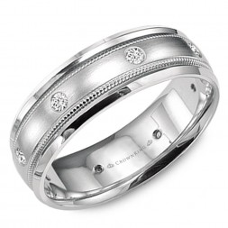 White Gold Wedding Band With Brushed Center, Milgrain Detailing And Six Round Diamonds
