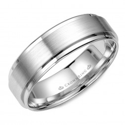 White Gold Wedding Band With Brushed Center
