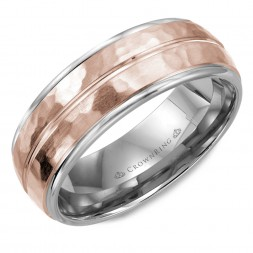 White Gold Wedding Band With Rose Gold Hammered Center And Line Detailing