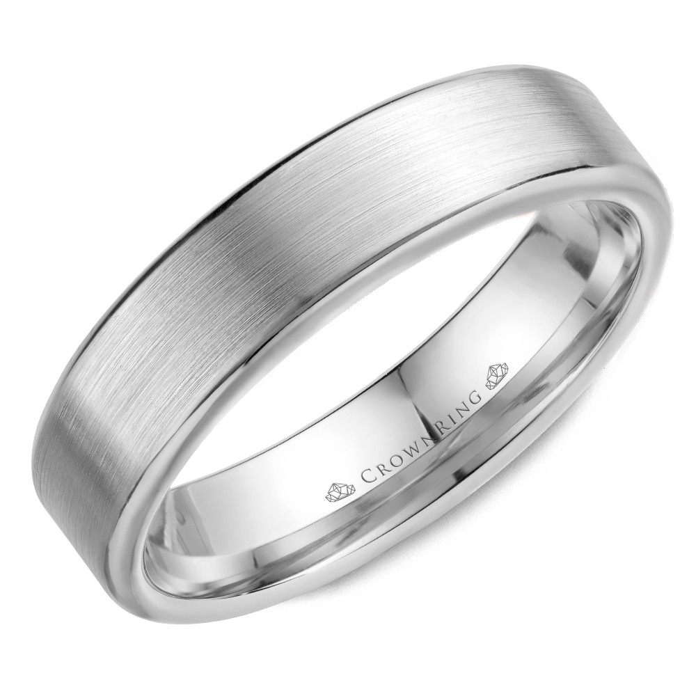 Wedding Band In White Gold With Brushed Center And Polished Edges