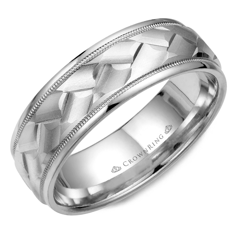 White Gold Wedding Band With Carved Patterned Center And Milgrain Detailing