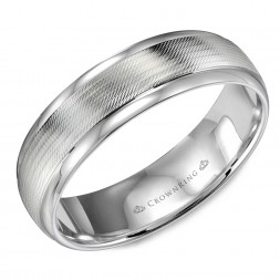 White Gold Wedding Band With Textured Center And Polished Edges