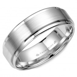 White Gold Wedding Band With Brushed Center And Polished Edges