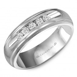 Wedding Band With Milgrain Detailing, Brushed Center And Five Round Channel Set Diamonds