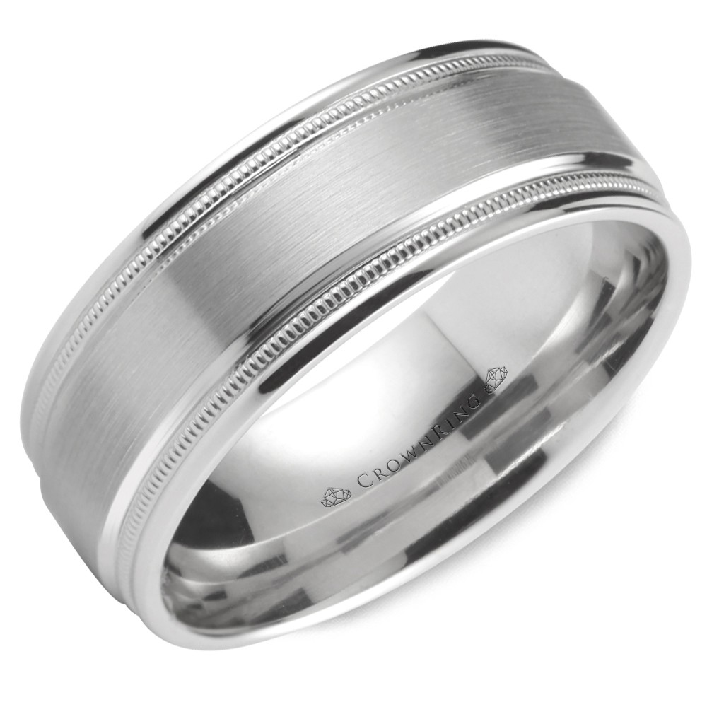 Wedding Band In White Gold With Brushed Center And Milgrain Detailing
