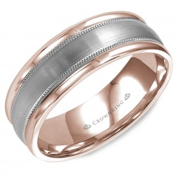 Brushed Rose Gold Wedding Band With White Gold Center And Milgrain Detailing