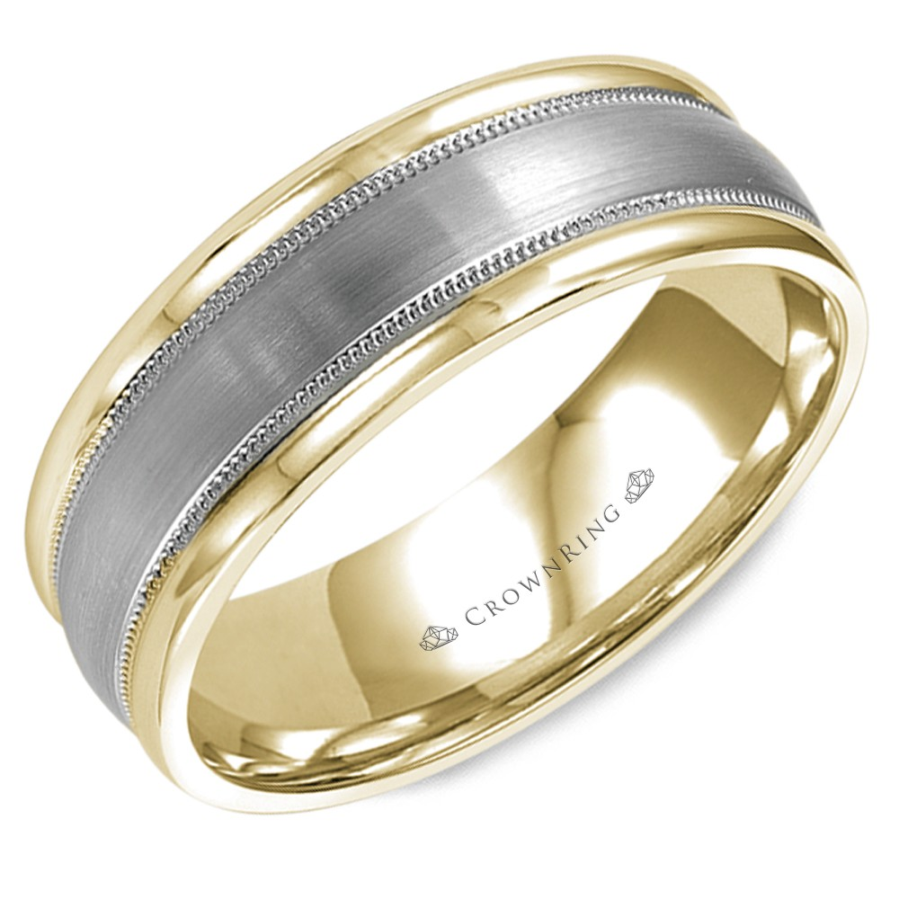 Brushed Yellow Gold Wedding Band With White Gold Center And Milgrain Detailing