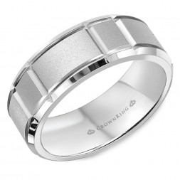 Sandblasted White Wedding Band With Notch Detailing And Beveled Edges