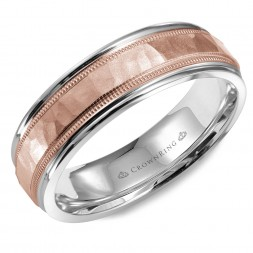 White Gold Wedding Band With Hammered Center, Line And Milgrain Detailing