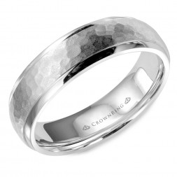 White Gold Wedding Band With Hammered Center