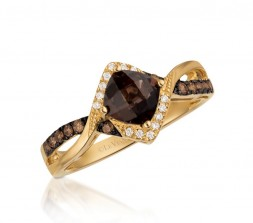 14KY D.20TW SMOKEY QUARTZ .78CT RING