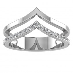 Chevron Twin Half Gold Half Diamond Ring