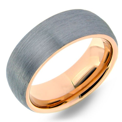 Brushed tungsten ring with rose gold inside & edges.