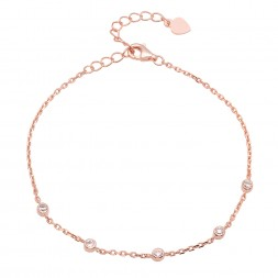 Ladies Sterling Silver Rose Gold Plated CZs By The Yard Bracelet With Extender