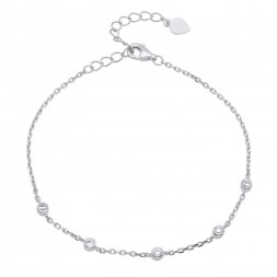 Ladies Sterling Silver CZ By The Yard Bracelet With Extender