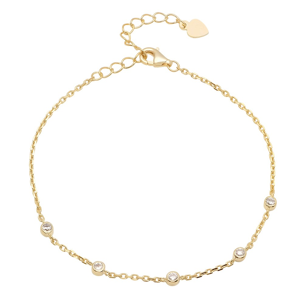 Ladies Sterling Silver Yellow Gold Plated CZs By The Yard Bracelet With Extender