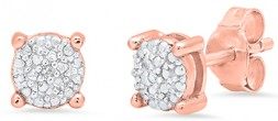 Ladies Sterling Silver 18KT Rose Gold Overlay Diamond Accent Earrings