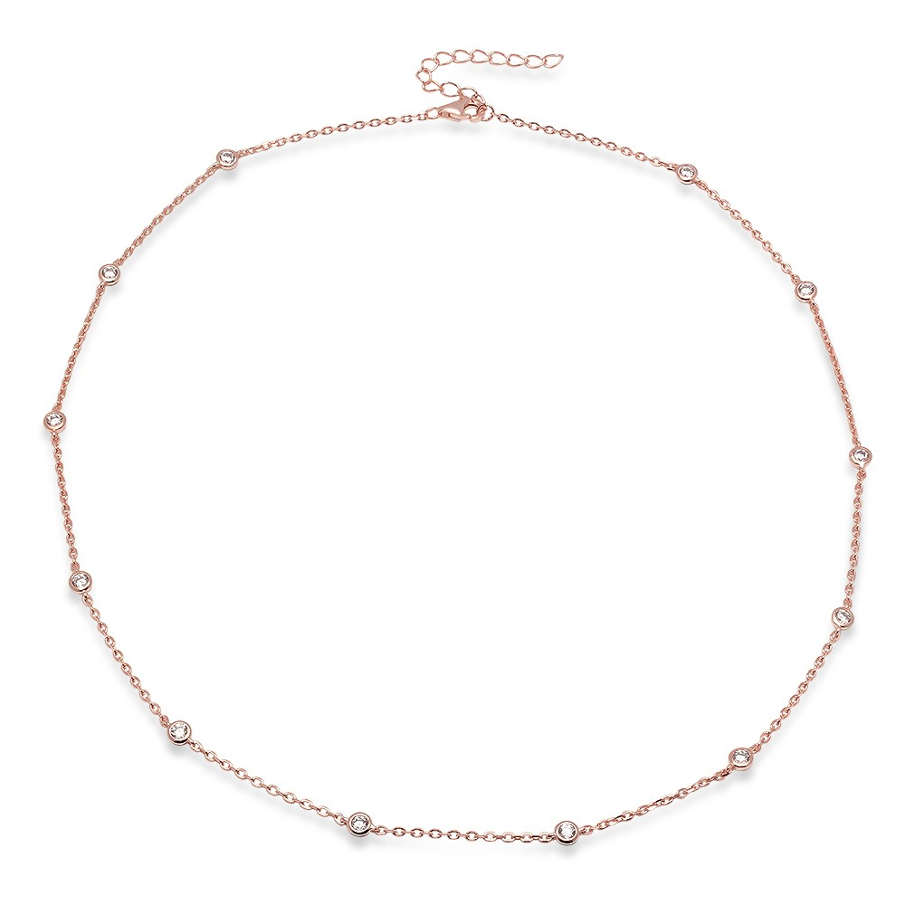 Ladies Sterling Silver with Rose Gold Plating CZs By The Yard 36