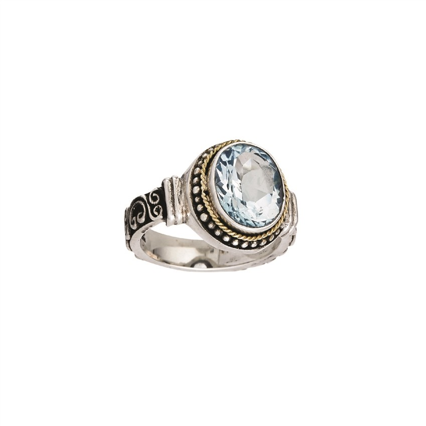 18 kt and Sterling Silver Bali Design Ring