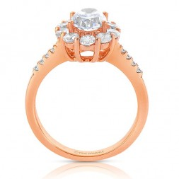 Ct180-14k Rose Gold Oval Cut Halo Diamond Semi Mount Engagement Ring