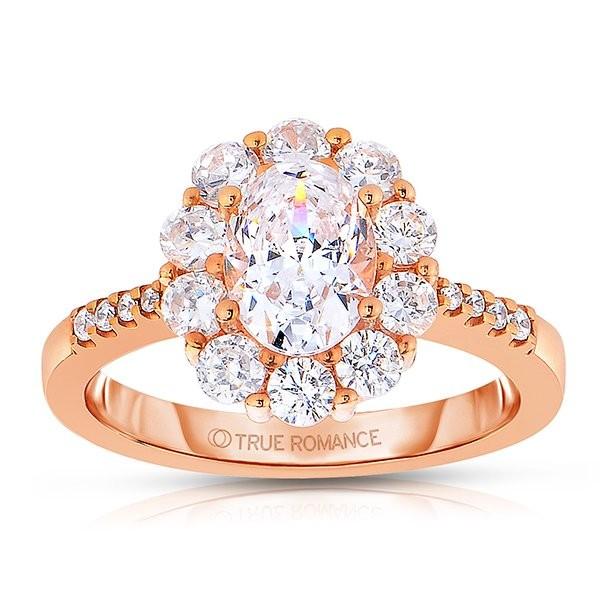 Ct180-14k Rose Gold Oval Cut Halo Diamond Semi Mount Engagement Ring