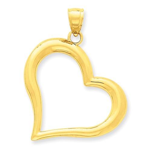 Heart Pendant  Polished LG 38mm x 28mm