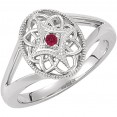 Sterling Silver 2mm Round Ruby Ring Size 7