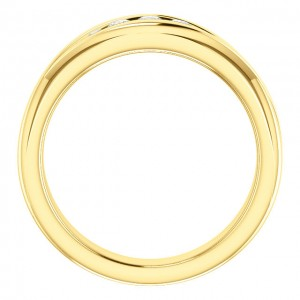 Gents 18kt Yellow Gold Designer Channel Set Ring