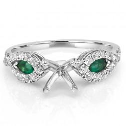 White 14 Karat Semi-Mount Ring With 2=0.30Tw Marquise Emeralds And 0.33Tw Round Diamonds