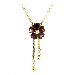5 Heart Garnet Necklace with  18