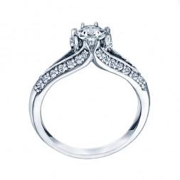 Me677 -14k White Gold Classic Semi Mount Engagement Ring