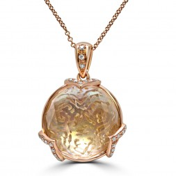 14K Rose Gold Pendant with a 14.41 carat Topaz