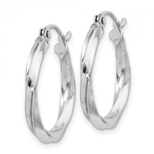 Sterling Silver Rhodium-Plated Twisted 2.5x20mmHoop Earrings