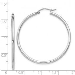 Sterling Silver Rhodium-Plated 2mm Round Hoop Earrings.