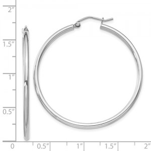 Sterling Silver Rhodium-Plated 2mm Round Hoop Earrings.