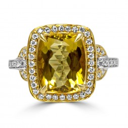 18K Two Tone Yellow Beryl Ring