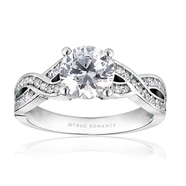 Rm1016-14k White Gold Infinity Semi Mount Engagement Ring