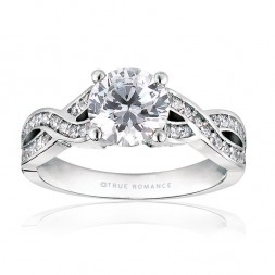 Rm1016-14k White Gold Infinity Semi Mount Engagement Ring