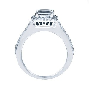 14k White Gold Emerald Cut Double Halo Diamond Engagement Ring