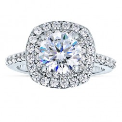 14k White Gold Round Cut Double Halo Diamond Semi Mount Engagement Ring